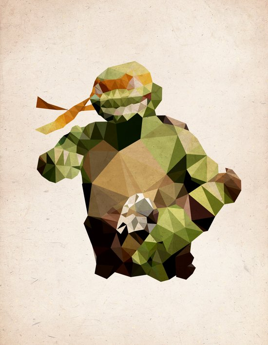 Polygon Heroes - Michelangelo Canvas Print