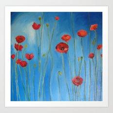 Blue Poppies Art Print