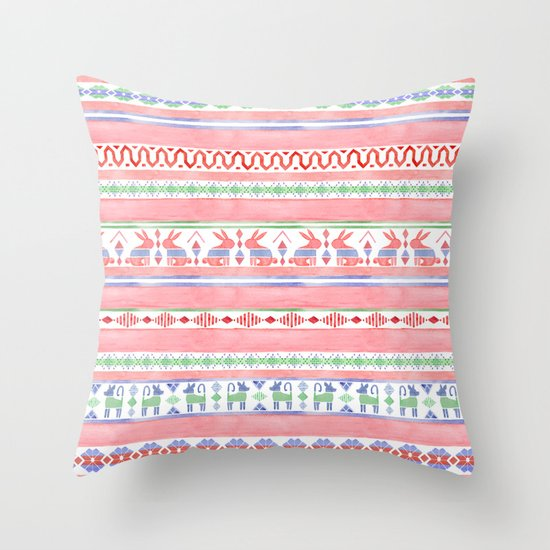 Mexican Blanket Throw Pillow
