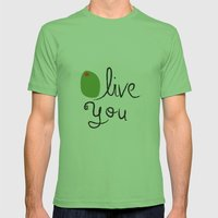 Olive You. Mens Fitted Tee Grass SMALL