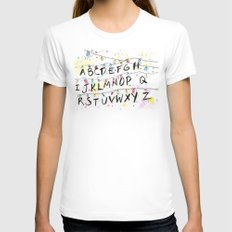 Stranger Things Alphabet Christmas Lights  Womens Fitted Tee White SMALL