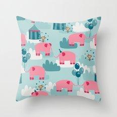 Pink Elephant Circus Throw Pillow