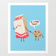 Cookie Loves Milk Art Print