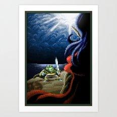 Pixel Art series 2 : Fight on the cliff Art Print