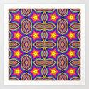 Rainbow Striped Stars Pattern Art Print
