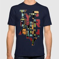 Retro Switch. Mens Fitted Tee Navy SMALL