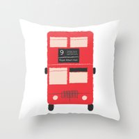 Red Double Decker Bus  Throw Pillow