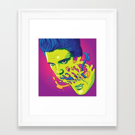 Happily melting Elvis Framed Art Print