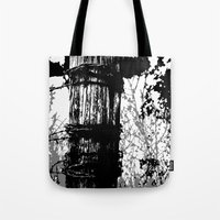 Barbed Wire Fence Post B/W Tote Bag