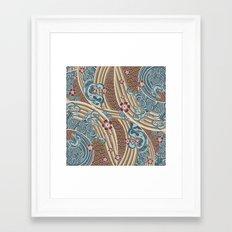 Waves of tradition-olive Framed Art Print