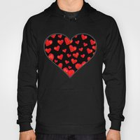 Hearts Motif Black Hoody