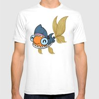 Goldfish In Shark Costum… Mens Fitted Tee White SMALL