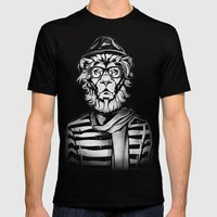 Hipster Lion Black and White Mens Fitted Tee Black SMALL