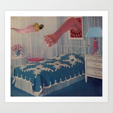 blue bed Art Print