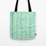 Mint Herringbone Tote Bag