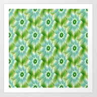 Pale Blue Green And Whit… Art Print