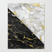 Black & White Gold Fleck… Canvas Print
