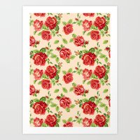 Rose Pattern- Cream Art Print