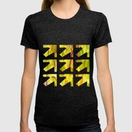 Yellow Tulips Womens Fitted Tee Tri-Black MEDIUM