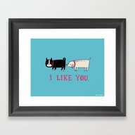 Framed Art Print featuring I Like You. by Gemma Correll