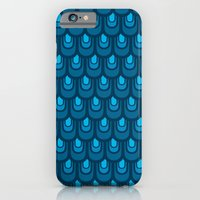 iPhone & iPod Case featuring Blue vintage feather pattern  by Lain de Macias