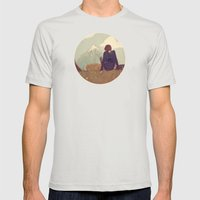 Here And There Mens Fitted Tee Silver SMALL