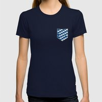 Whale in the ocean Womens Fitted Tee Navy SMALL