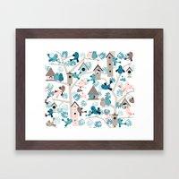 Bird family tree Framed Art Print