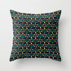 Folk Flowers Black Throw Pillow