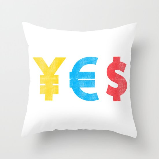 Money Money Money Throw Pillow