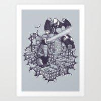 Lucha Kaiju Art Print