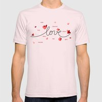 Love, Butterfly Hearts & Text Unique Valentine Mens Fitted Tee Light Pink SMALL