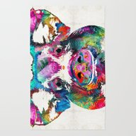 Rug featuring Colorful Pig Art - Squea… by Sharon Cummings