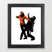 Zombie Fist Fight! Framed Art Print