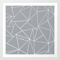 Abstract Dotted Lines Grey Art Print
