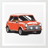 Mini Cooper Car - Red Art Print
