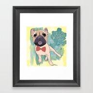 Frenchie Art. Bruno. Framed Art Print