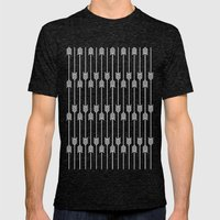 Peach And White Arrows Mens Fitted Tee Tri-Black SMALL