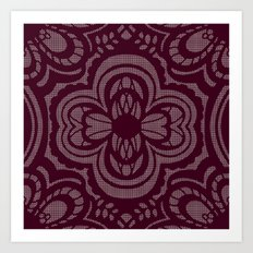 Four-leaf Clover Lace: Burgundy Art Print