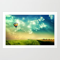 The Colorful Balloon In The Sky - Painting Style Art Print