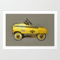 Yellow Taxi Pedal Car Art Print