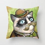 Dapper Grumpy Cat - Cats… Throw Pillow