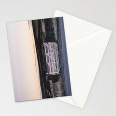 White gate leading to moorland at twilight. Derbyshire, UK. Stationery Cards