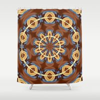 Blue Wood Kaleido Patter… Shower Curtain