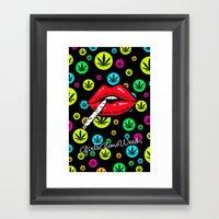 GGDUB - Neon Weed Lips Framed Art Print