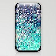 Aqua Midnight Blue Pixel… iPhone & iPod Skin
