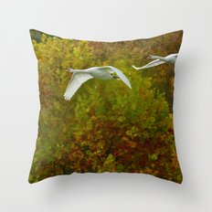 Swans in flight Throw Pillow