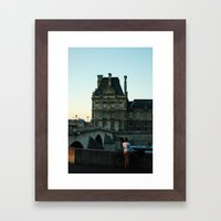 Women with Bike, staring into Seine River Framed Art Print