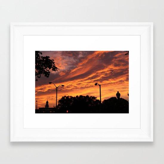 Pink and Orange Sunset Framed Art Print