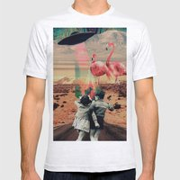 Pink Flamingos Mens Fitted Tee Ash Grey SMALL